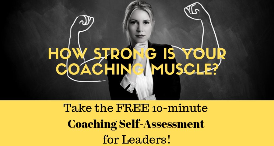 Image of leader flexing arm muscles signifying manager coaching strength